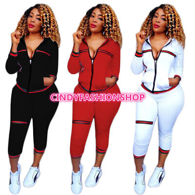 USA  Women  Long Sleeve Zipped Hoodies Sports Casual 2-Piece Play Suit Jumpsuit