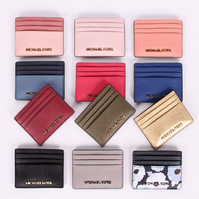 NWT Michael Kors Jet Set Travel LG Leather Card Holder Case in Various Colors