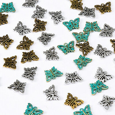 100Pcs Tibetan Antique Silver Butterfly Charms Pendant For Jewelry Making DIY