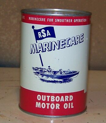Exceptional NOS RSA MARINECARE OUTBOARD Motor Oil Can GRAPHIC Full Tin US Qt.