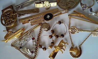 Vintage 10K To 14K Gold Filled Mixed Lot Crystal Brooch Tie Clips Ring 143 Grams
