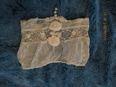 Victorian Antique Baby shoulder light wrap tuille, lace and fine crochet in beig