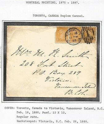 Canada small Queen Montreal print 1c strip on 1888 Toronto cover