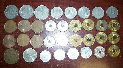 34 Coins of Japanese Yen Chinese Coins 500 100 Japan Republic of China Ten Cash