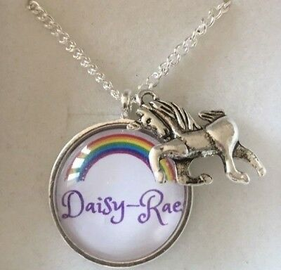 Girls Personalised Unicorn Necklace xmas present best friend ANY NAME OR AGE