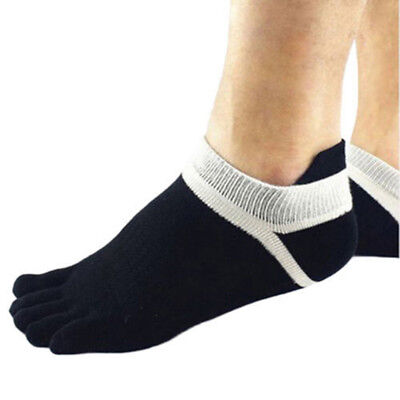 2 Pairs Mens Casual Toe Socks Premium Cotton Ankle Five Finger Socks Black EE