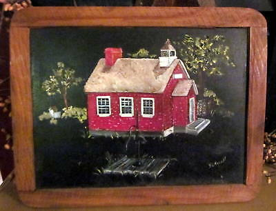 Vintage Antique Hand Painted School House Chalkboard Wood Frame Picture Portugal