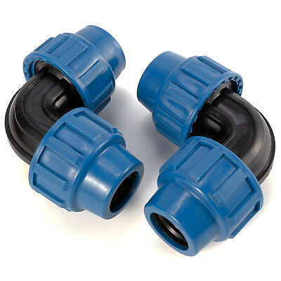 Pack of 2 MDPE Plastic Compression 90 Degree Elbow Fittings For Water Pipe