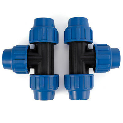Pack of 2 MDPE Plastic Compression Tee Fittings For Water Pipe