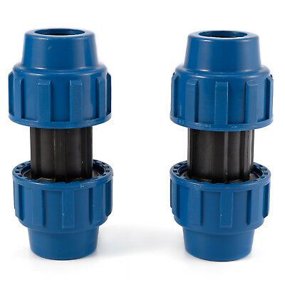 Pack of 2 MDPE Plastic Compression Coupler Fittings For Water Pipe