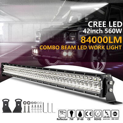 42inch 560W CREE LED Work Light Bar Flood Spot 4WD Truck Offroad Driving Lamp