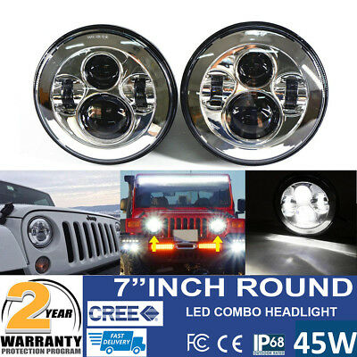 7Inch Projector CREE LED Headlight for Jeep Wrangler Hi/Low Beam White Angel Eye