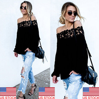 New Women Long Sleeve Off Shoulder T-Shirt Blouse Casual Loose Ladies Tops Shirt