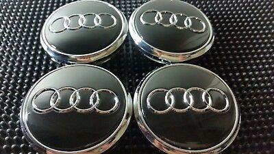 4 pcs, Wheel Emblem Center, Hub Caps, Audi Black, 77 MM Fit: Q7