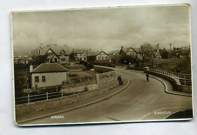 BRORA   View of Street  with houses and people  RP