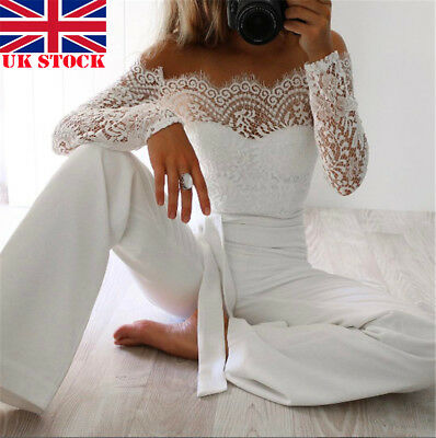 Women Long Sleeve Jumpsuit & Romper Clubwear Off Shoulder Lace Bodycon Trousers