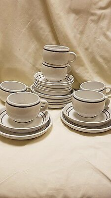 6 x denby vanilla trios vintage white with brown ring cups and saucers