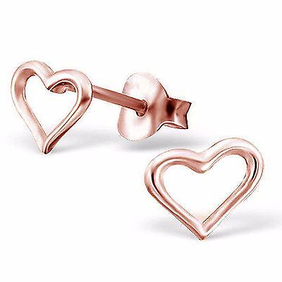 Solid 925 Sterling Silver Rose Gold Over Open Heart Stud Earrings Jewelry Gift