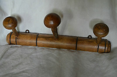 Antique French  faux bamboo wooden coat hook rack