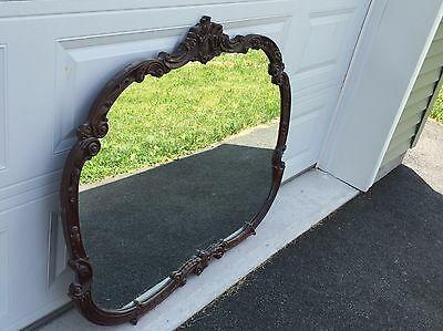 Antique Mahogany Hand Carved Dresser or Wall Mirror Vintage