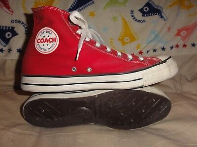 Vintage Converse Coach Red High Tops Made In Usa Size 11.5 1970