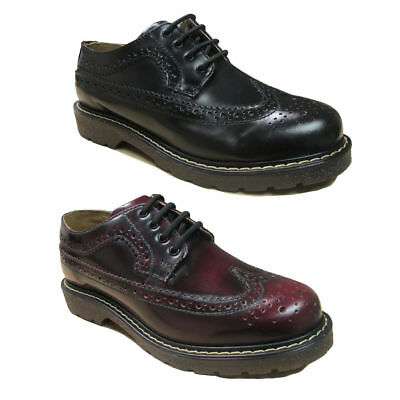 Mens Grinders Bertrum Black or Burgundy Brogue Shoes 8 - 12 UK