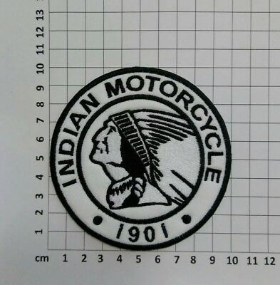 Indian Motorcycle 1901 - Embroidery Sew On Patch - Black & White - Left Facing