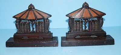 ANTIQUE LAMP OF KNOWLEDGE CAST IRON BOOKENDS METAL ART JUDD CO. CIRCA 1920's