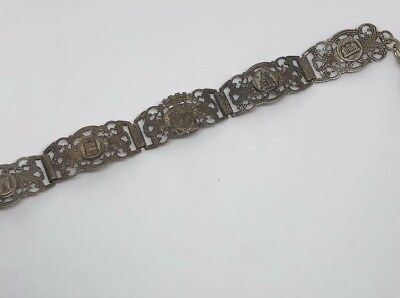 Vintage Art Deco French Silver Filigree Eiffel Tower Paris Hinged Panel Bracelet