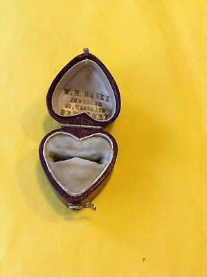 Antique Vintage Red Leather Heart Shaped Ring Box - Perfect for Engagement Ring