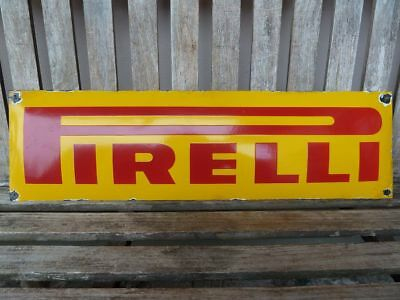 """old PIRELLI porcelain sign 27"""" heavy convex tires advertising tyres service"""
