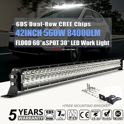 42in 560W CREE LED Work Light Bar Flood Spot 4WD Truck offroad Driving Lamp Car