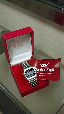 VINTAGE 1970s Selection Royal SOLAR LCD QUARTZ WATCH w/Box LOOKS NEW OLD STOCK?
