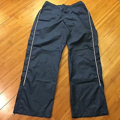 Nike Womens Track Pants Blue Polyester Athletic Warmup Zip Cuffs Size XL 16-18