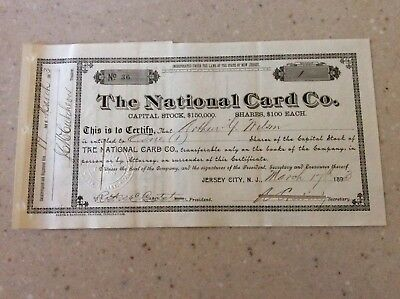 Very Rare 1893 Stock Certificate The National Card Co. No Reserve!