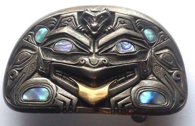 Carved Sterling Abalone Inlay14K Gold Haida Bear Wolf  Buckle Signed JH 1979