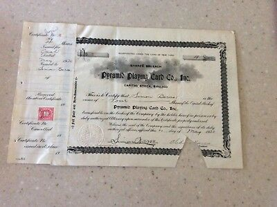 Very Rare 1920 Stock Certificate Pyramid Card Co. Inc. No Reserve!
