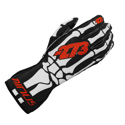 Minus 273 Kart Skeletal Racing Karting Gloves Handschuhe Black / White Small