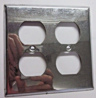 1 vintage retro shiny chrome plated steel 2 gang outlet wall plate cover