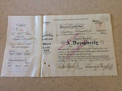 Very Rare 1905 Stock Certificate A. Dougherty Card Co. No Reserve!