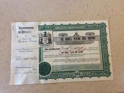 Rare 1911 Stock Certificate The Russell Playing Card Co.  No Reserve!