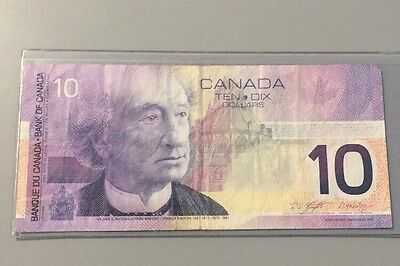 Beautiful 2001 Bank Of Canada $10 Note Canadian Bill Rare Currency Paper Money