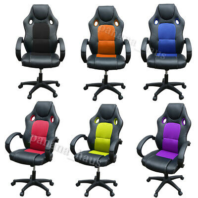 Racing Gaming Office Chair Computer Mesh Desk Chair Swivel PU Leather Sport UK