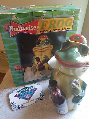 1996 AB Anheuser Busch Budweiser Bud Frog Character Stein  with box and coa