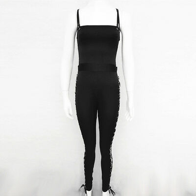 USA Women Sexy Backless Side Lace Up Tight Bandage Body con Catsuit Jumpsuit