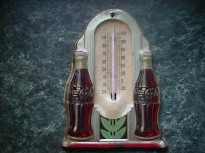 Vintage & Rare Original Double Bottle Coca-Cola Thermometer