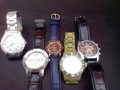 Job lot of 5 men's watches. All working with new batteries
