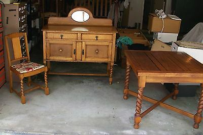 Antique English Oak Barley Twist Draw Leaf Table & 4 Matching Chairs