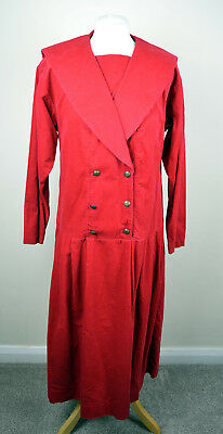Vintage Laura Ashley Autumn Red Corduroy Edwardian/Flapper/Sailor Dress 10-12