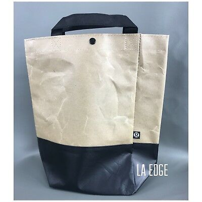 Lululemon Reusable Shopping Tote Bag Small Brown Black Lunch Sack Gift LA Edge